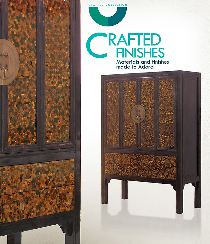 Ambre – Gold Pen Shell Chinese Armoire is made specially for Four Seasons Guangzhou China, in collaboration with HBA Singapore. Natural Gold Pen Shell in intricate Hexa pattern is combined with a custom Teak Black Gunny Washed in high gloss finish to create a crafted piece that accentuates the beauty of both materials. width=