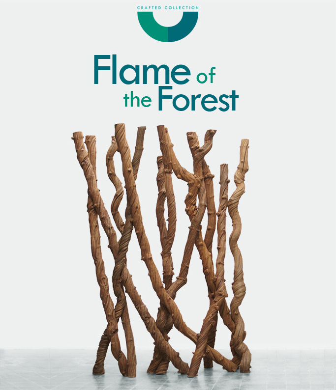 Flame of the Forest – Liana vines artwork is part of CushCush Crafted Collection that accentuates and pays tribute to the simple and raw beauty of various natural materials. All materials are selectively chosen before being made into a variety of sculpted pieces