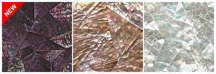 CushCush Featured Inlay Surfaces: White Mother of Pearl – Crack, Pink Mother of Pearl – Crack, Lila Pearly Mussel Shell – Crack